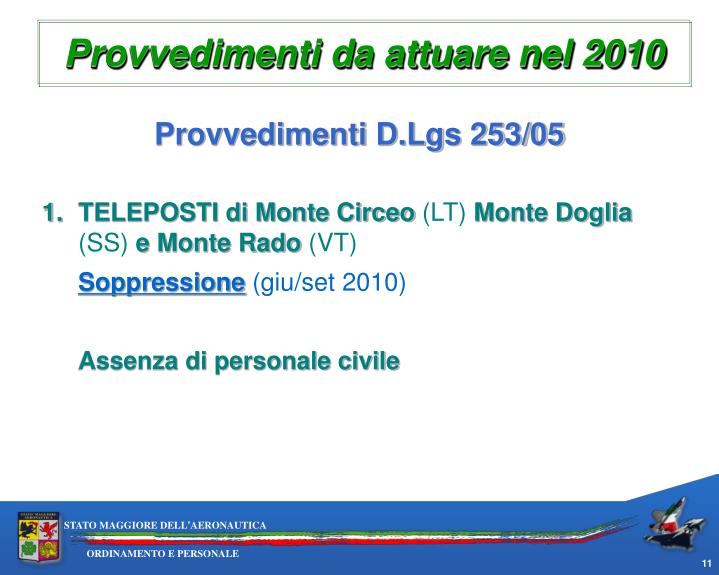 Provvedimenti da attuare nel 2010