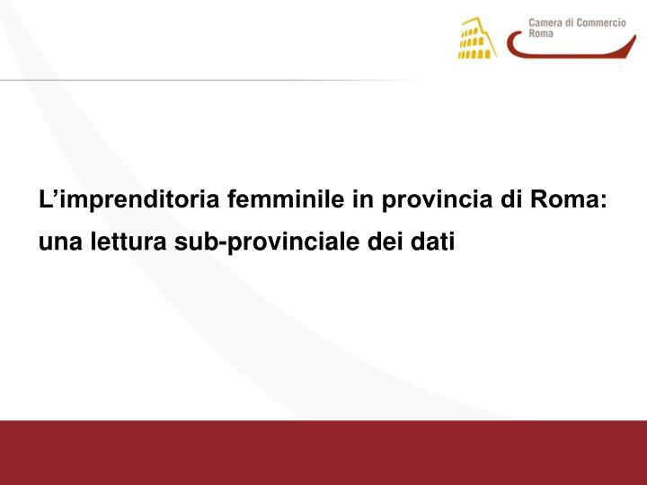 L'imprenditoria femminile in provincia di Roma: una lettura sub-provinciale dei dati