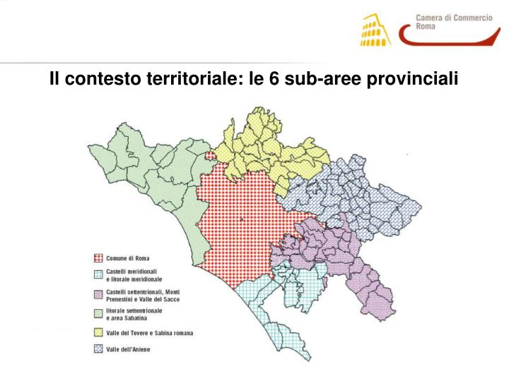 Il contesto territoriale: le 6 sub-aree provinciali