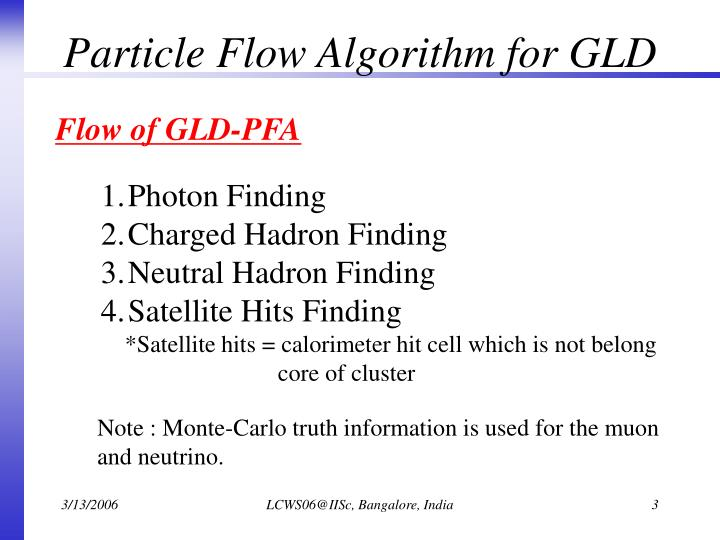 Particle Flow Algorithm for GLD