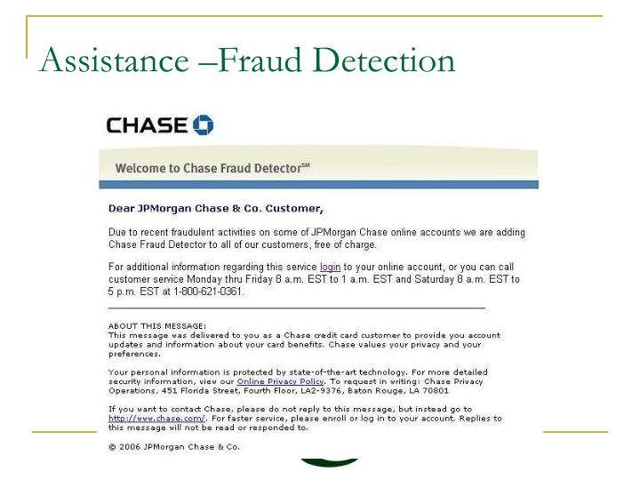 Assistance –Fraud Detection