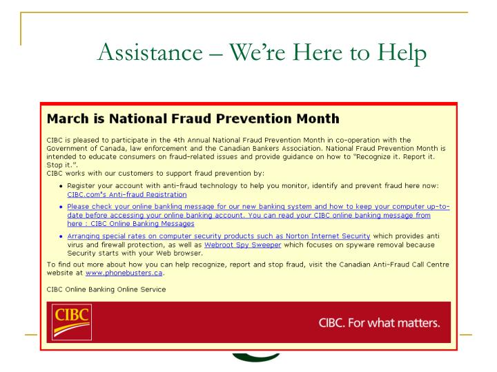Assistance – We're Here to Help