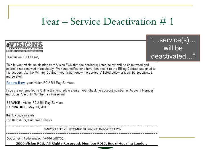 Fear – Service Deactivation # 1