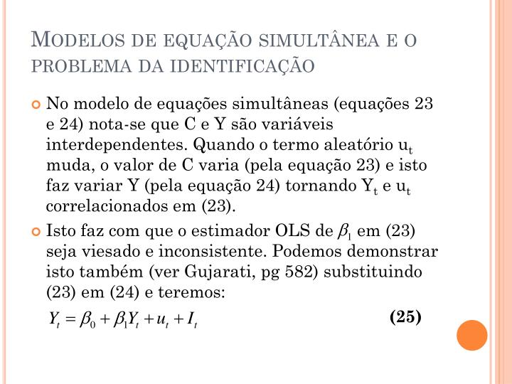 Modelos de equação simultânea e o problema da identificação