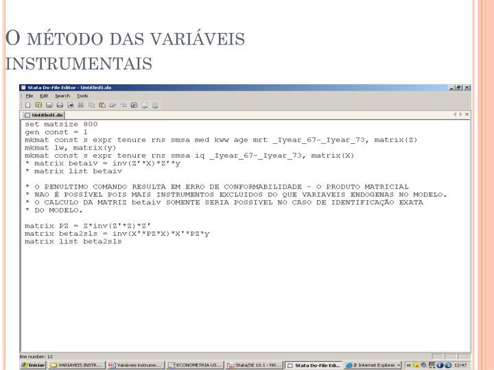 O método das variáveis instrumentais