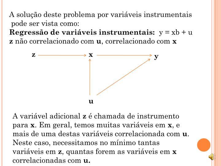 A solução deste problema por variáveis instrumentais