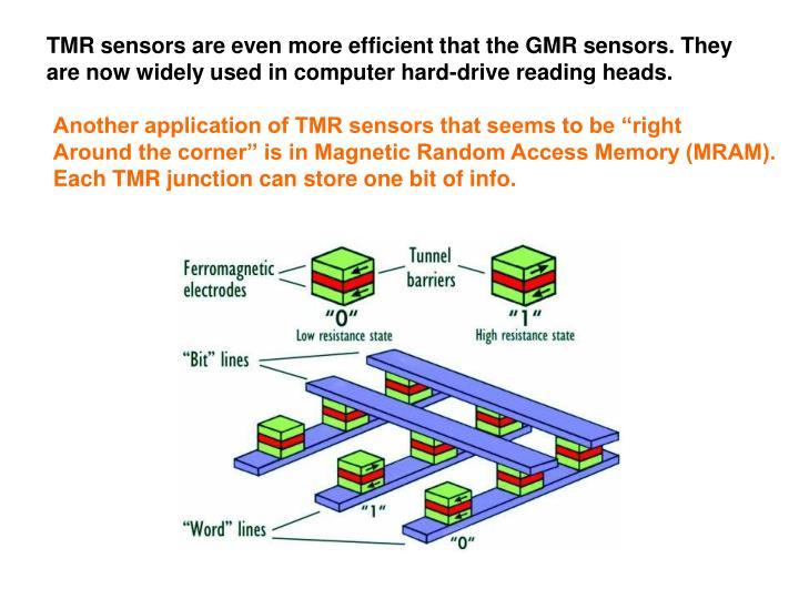 TMR sensors are even more efficient that the GMR sensors. They
