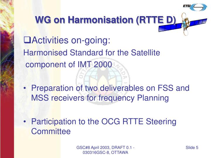 WG on Harmonisation (RTTE D)