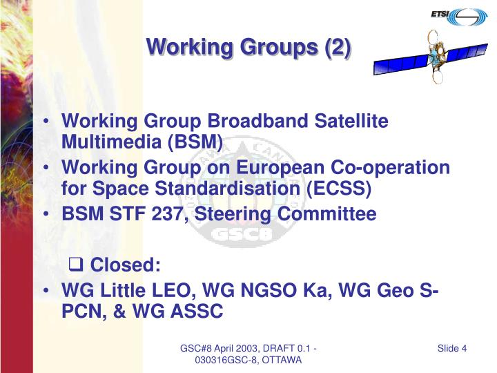 Working Groups (2)