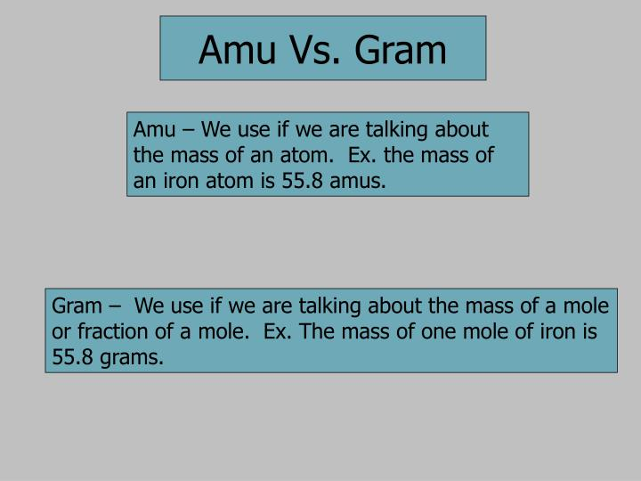 Amu – We use if we are talking about the mass of an atom.  Ex. the mass of an iron atom is 55.8 amus.