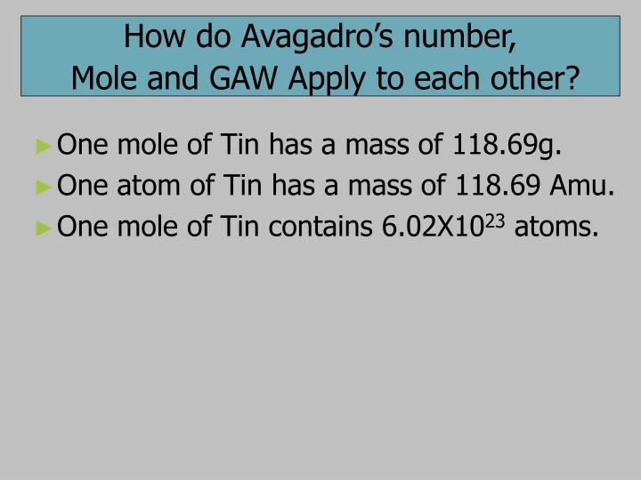 How do Avagadro's number,