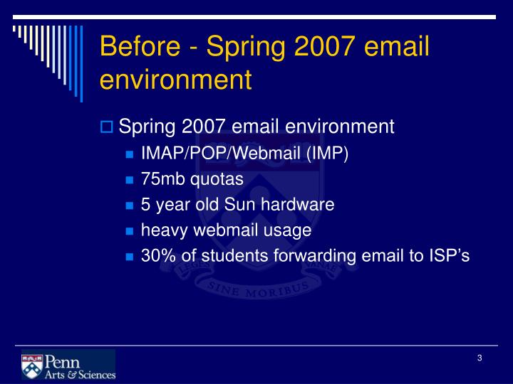 Before spring 2007 email environment