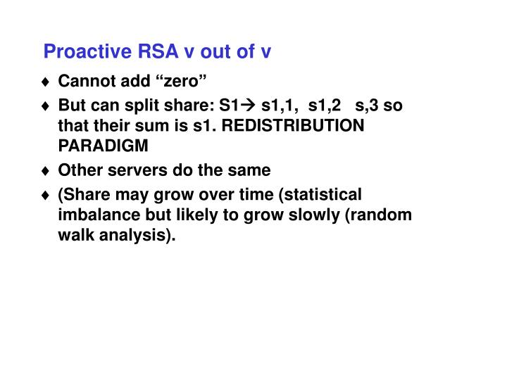 Proactive RSA v out of v