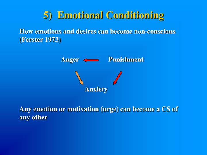 5)  Emotional Conditioning