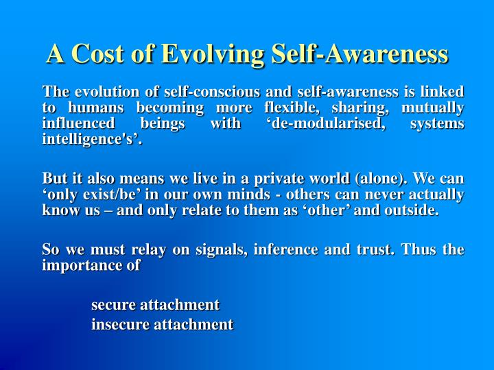 A Cost of Evolving Self-Awareness