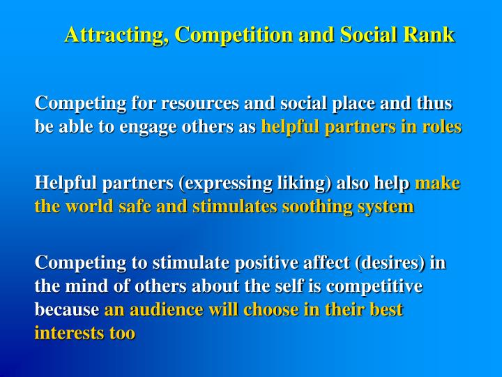 Attracting, Competition and Social Rank