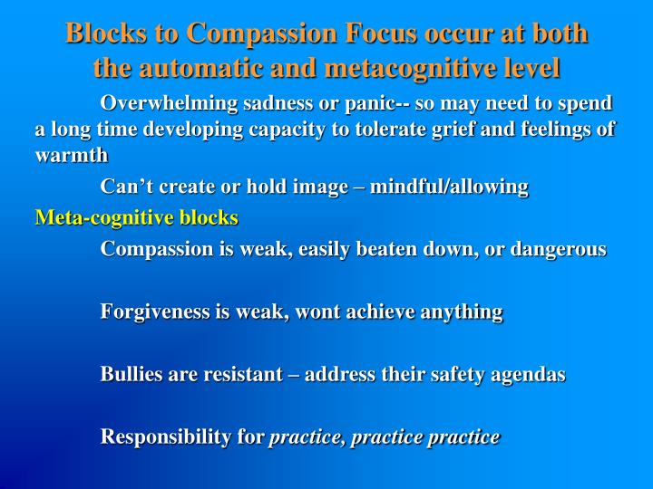 Blocks to Compassion Focus occur at both the automatic and metacognitive level