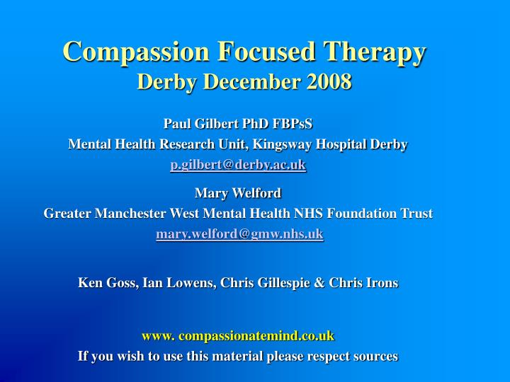 Compassion focused therapy derby december 2008