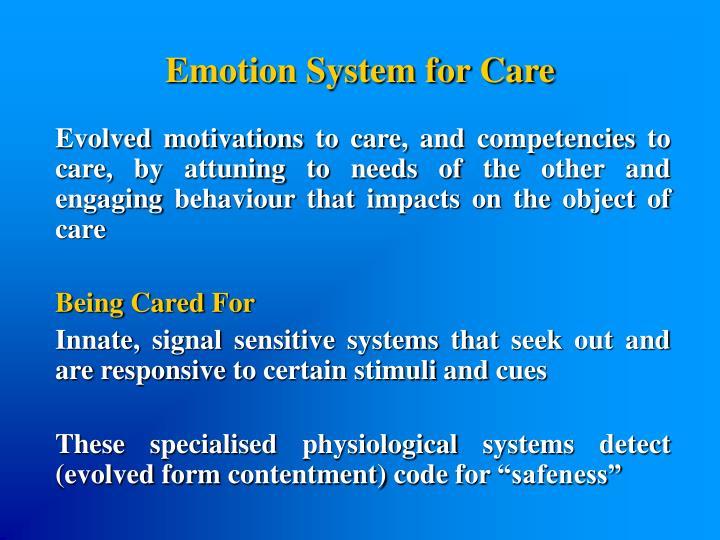 Emotion System for Care