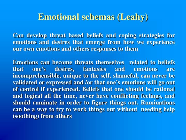 Emotional schemas (Leahy)