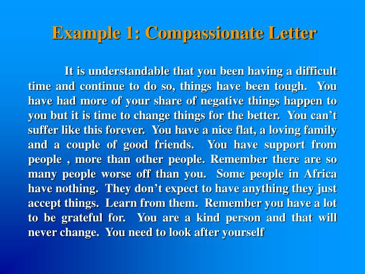 Example 1: Compassionate Letter