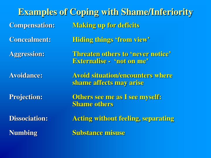 Examples of Coping with Shame/Inferiority