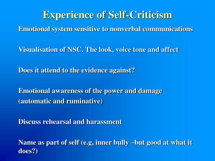 Experience of Self-Criticism