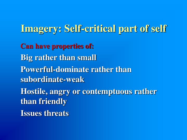 Imagery: Self-critical part of self