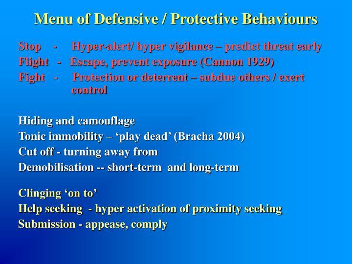 Menu of Defensive / Protective Behaviours