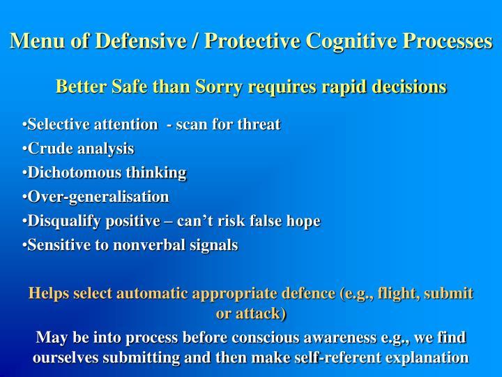 Menu of Defensive / Protective