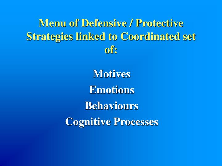 Menu of Defensive / Protective Strategies linked to Coordinated set of:
