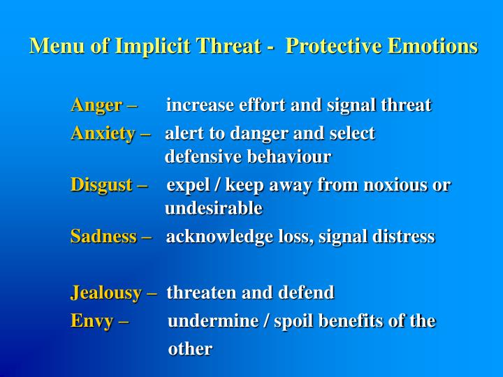 Menu of Implicit Threat -  Protective Emotions