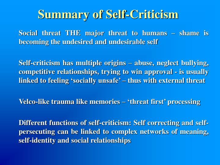 Summary of Self-Criticism
