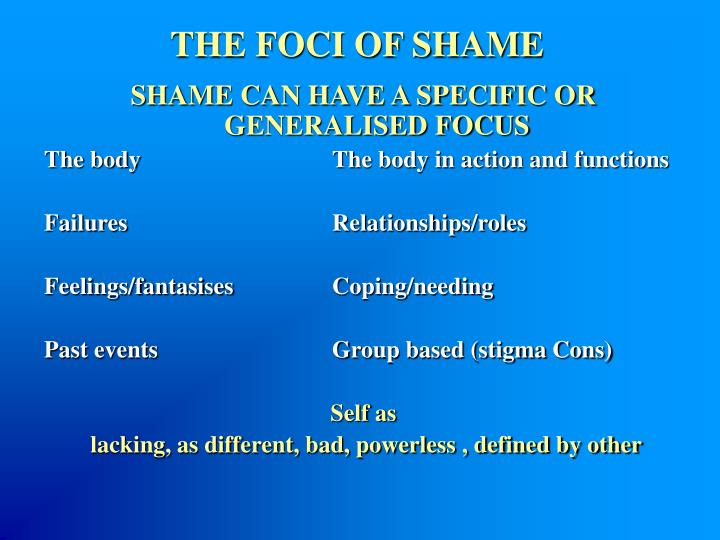 THE FOCI OF SHAME
