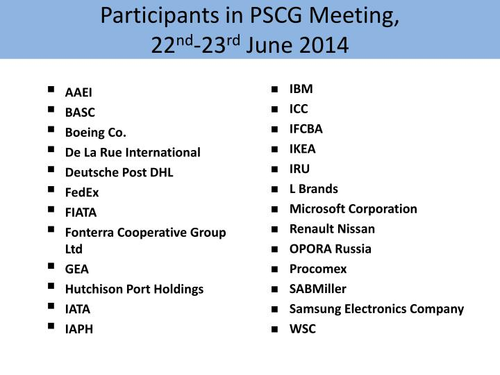 Participants in pscg meeting 22 nd 23 rd june 2014