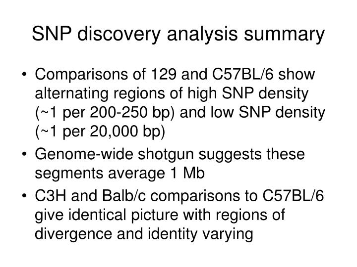 SNP discovery analysis summary