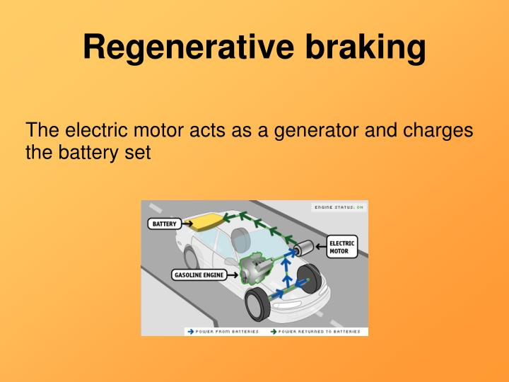 The electric motor acts as a generator and charges the battery set