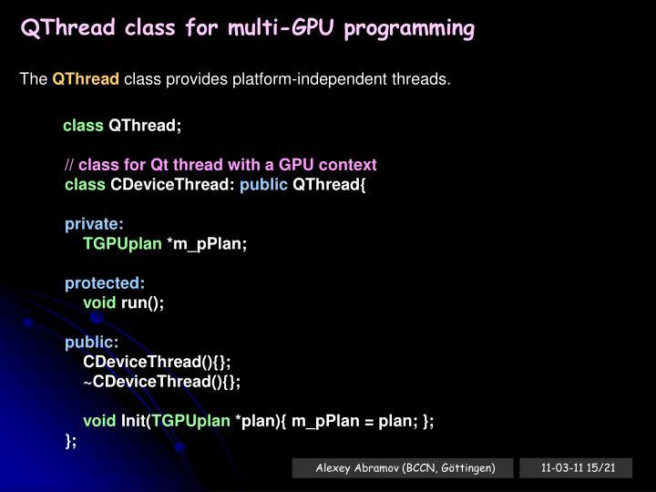 QThread class for multi-GPU programming