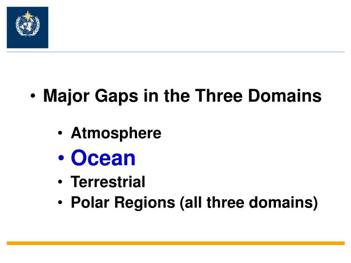 Major Gaps in the Three Domains