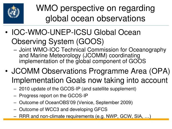 WMO perspective on regarding global ocean observations