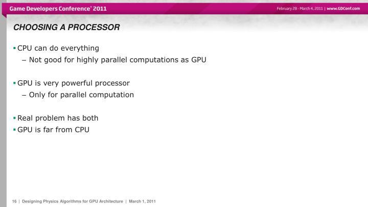 Choosing a processor