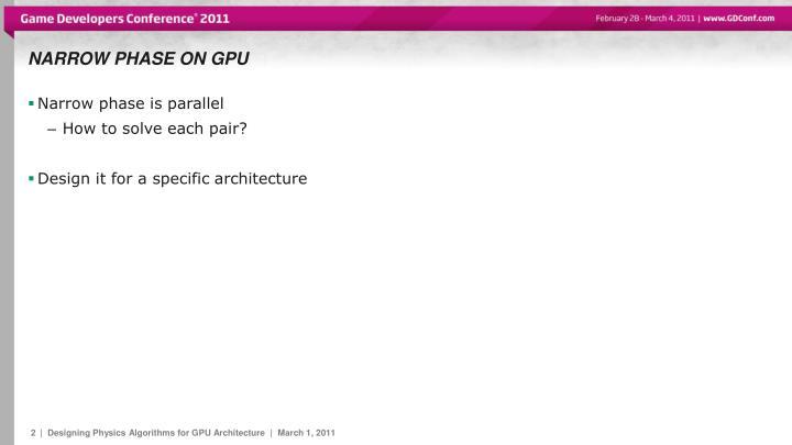 Narrow phase on GPU