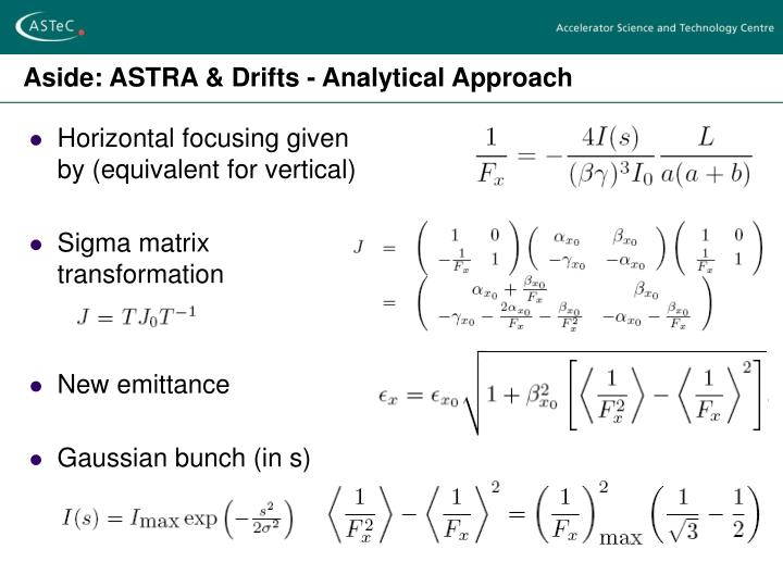 Aside: ASTRA & Drifts - Analytical Approach