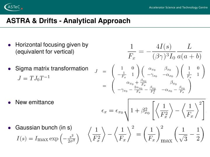 ASTRA & Drifts - Analytical Approach