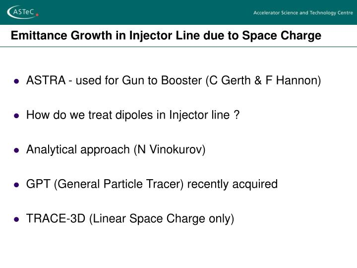 Emittance Growth in Injector Line due to Space Charge
