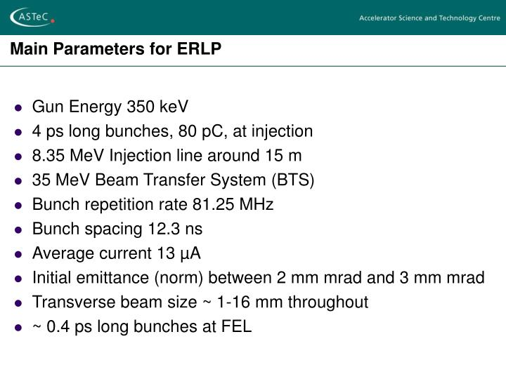 Main Parameters for ERLP