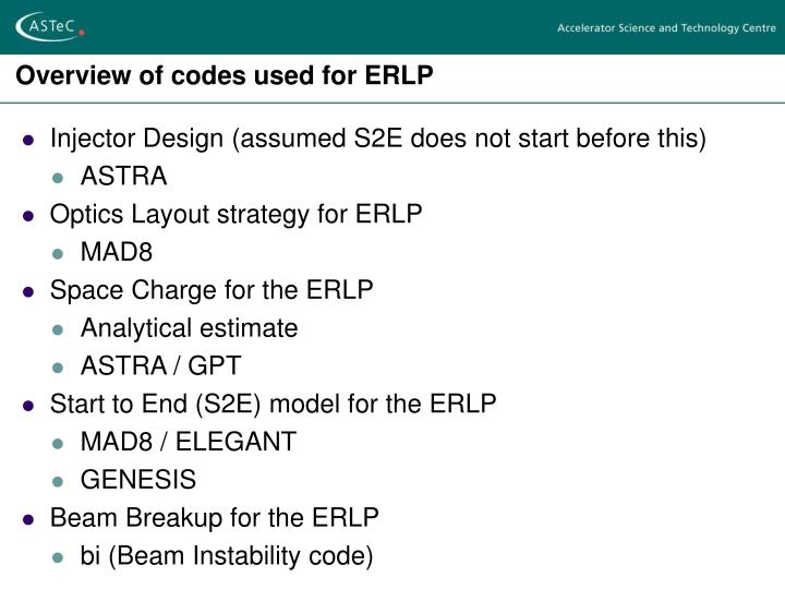 Overview of codes used for erlp