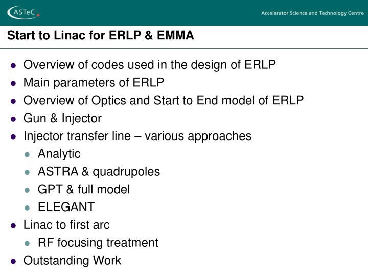 Start to linac for erlp emma