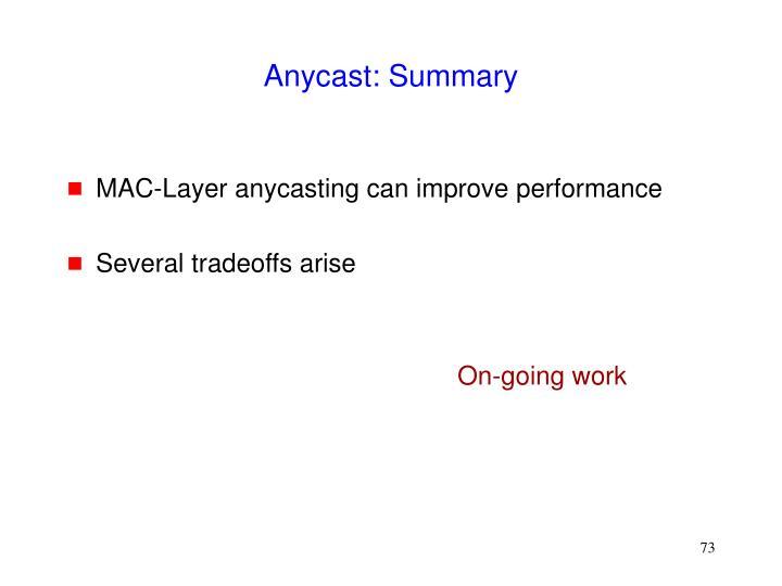 Anycast: Summary