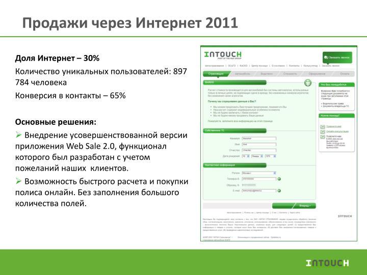 Продажи через Интернет 2011